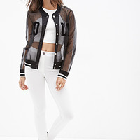 FOREVER 21 Barbie Doll Varsity Jacket Black/White