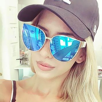 Mirror Pink 2017 New Brand Design Women Sunglasses Big Size Cateye Female Points Trend Sun Glasses Shades Female Big Size