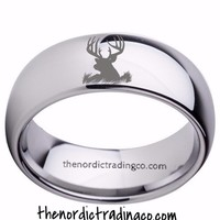Men's Silver Tungsten Carbide Deer Head Ring Engagement Wedding Valentine's Day Gifts for Him Jewelry Gifts