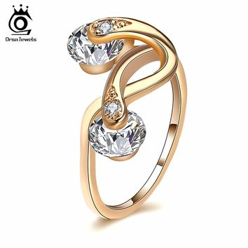 ORSA JEWELS Rings For Women AAA Cubic Zircon Gold-Color Twisted Ring Luxury Female Jewelry Wedding Gift New Arrivals OMR18