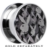 """5/8"""" Officially Licensed Black Gray Playboy Bunny Screw Fit Plug"""