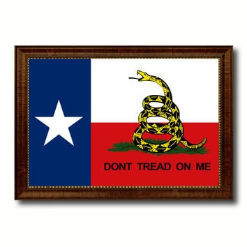 Gadsden Don't Tread On Me Texas State Military Flag Canvas Print with Brown Picture Frame Home Decor Wall Art Gift Ideas