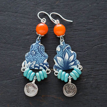 Colorful Lotus Flower Charm Earrings with Blue Vintage Tin and Orange and Turquoise Beads, Zen Jewelry, Yoga Jewelry, Boho Jewelry