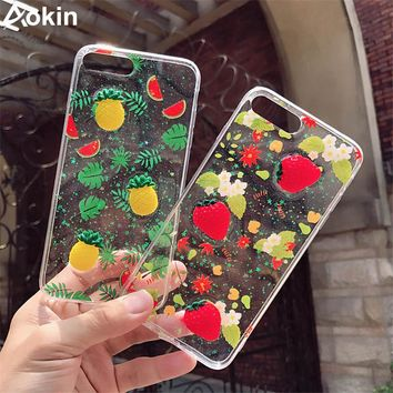 Aokin Fashion Bling Glitter Case For iPhone 6 6S Plus 3D Fruit Shining Powder Phone Cases For iPhone 7 7 Plus Soft Silicon Cover