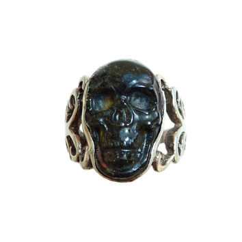 Vintage Sterling Silver Agate Skull Ring Circa 1970