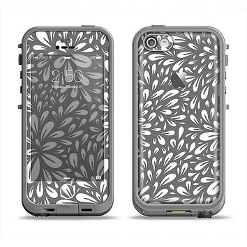 The Gray & White Floral Sprout Apple iPhone 5c LifeProof Fre Case Skin Set