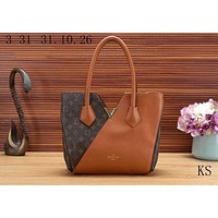 LV Louis Vuitton Popular In The World Ladies Shopping Bag V Type Leather Shoulder Bag Handbag Brown I-KSPJ-BBDL