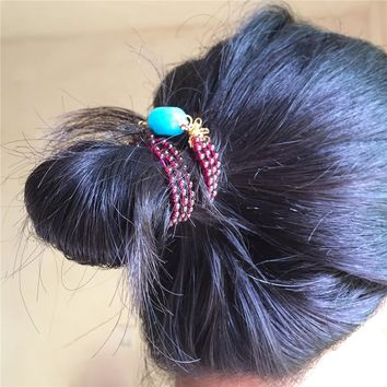 Hair Accessories Brand handmade Jewelry Red Blue Stone Beads Match Pure Gold Color Copper Women Gifts Decoration For The Hair