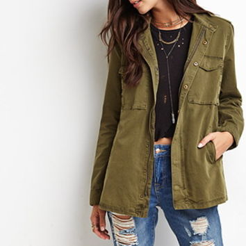 Buttoned Zip-Front Utility Jacket