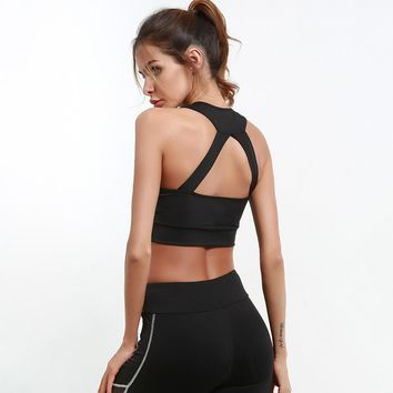 Sexy Black Scoop Neckline Front Zip Up Closure Back Cut Out Detailing Sports Bra