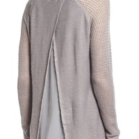 Ten Sixty Sherman Crochet Trim Open Back Sweater | Nordstrom