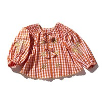 Avens Smock Orange Gingham Top