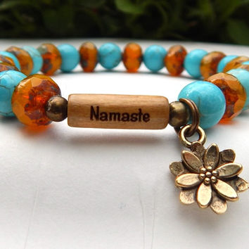 CHOOSE YOUR WORD Namaste Yoga Bracelet with a Lotus Flower Charm