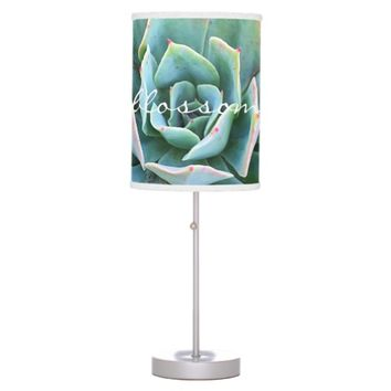 """Blossom"" pink & green cactus photo table lamp"