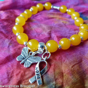 Yellow Endometriosis Topaz Awareness Ribbon Warrior Bracelet - Suicide Prevention, Liver Disease & Cancer, Bladder cancer, Sarcoma, Obesity
