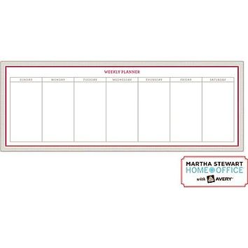 Martha Stewart Home Office™ with Avery™ Dry Erase Weekly Planner Red and Gray, 5-7/8 x 15-7/8