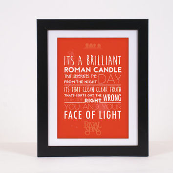 Rival Sons Face of Light Rock 'n' Roll Lyrics Typography Poster Print - High Quality, more colours available!!