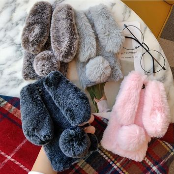 CAENBOO Cute Furry Rabbit Fur Phone Case For Apple iPhone X 8 7 6s Plus Luxury Silicone Cover Cases For iPhone 5s SE Shell Case