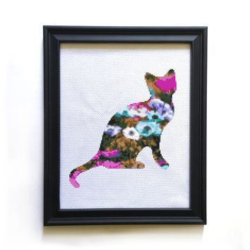 Field of Flowers Cat Cross Stitch Pattern