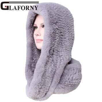 Glaforny Knitted Real Rex Rabbit Fur Hat Ear Muff Earwarmer Scarf Cap Soft and Fashionable 2 Use 25 Colors