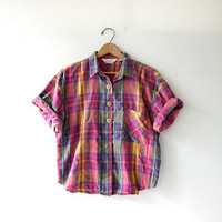 Vintage plaid cotton shirt. Colorful loose fit shirt. Short sleeve shirt. Preppy button up shirt.