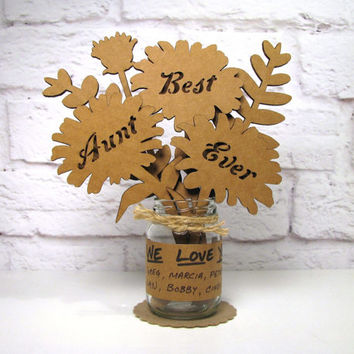 BEST AUNT EVER Corrugated Cardboard Flowers Bouquet In Mini Mason Jar Great Gift Idea