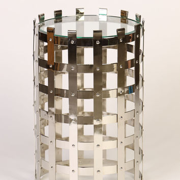 Metal Strap Table in Polished Nickel Finish