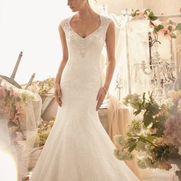 Chantilly Lace Gown by Bridal by Mori Lee