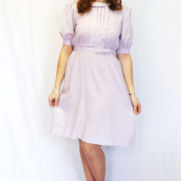 Vintage Checkaberry 70s 80s does 40s Purple Shirt Shift Day 50s Dress Tea Dress Sundress Peter Pan Collar Medium Country Folk Hipster Small