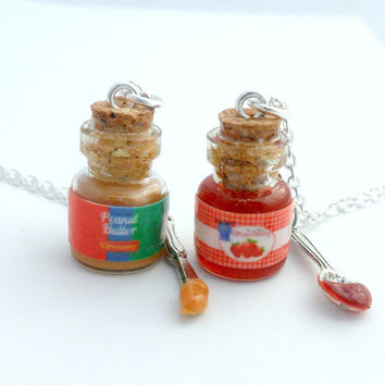 BFF Peanut Butter and Strawberry Jelly Jar with Knife & Spoon Necklace Set, Best Friend's BFF Necklaces, Cute :D