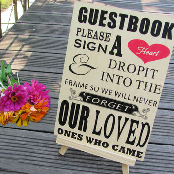 """Please Sign A Heart"" Sign for Wooden Wedding Heart Drop Box Guest Book Frames"