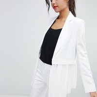 French Connection Sheer Panel Tailored Blazer at asos.com