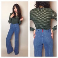 70's LIGHT BLUE BELLBOTTOMS - high-waisted - soft denim - model length - small/medium