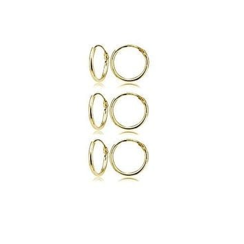 AUGUAU Yellow Gold Flashed Sterling Silver Small Endless 10mm Round Unisex Hoop Earrings, Set of 3 Pairs