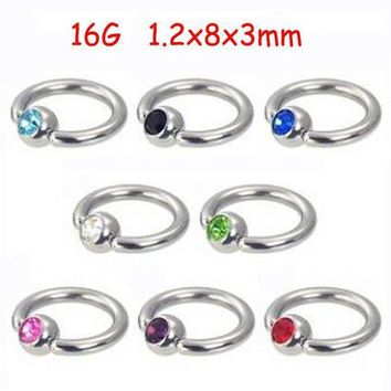 ac PEAPO2Q 2Piece Stainless Steel Captive Hoop Rings CBR Eyebrow Tragus Earrings BCR Nose Closure Crystal Body Piercings Jewelry Helix