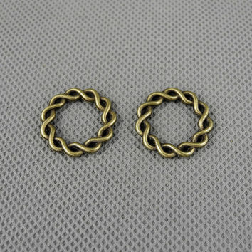 4x Jewellery Supply Supplies Vintage fabrication bijoux Jewelry Findings Charms Schmuckteile Charme 4-A1911 Twisted Circle