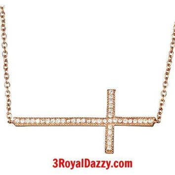 Rose gold on 925 Silver Sideways Cross Celebrity Pendant Necklace with Extender