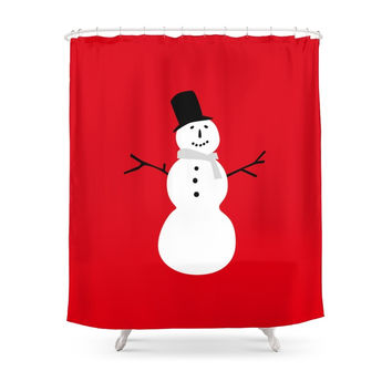 Society6 Christmas Snowman-Red Shower Curtains