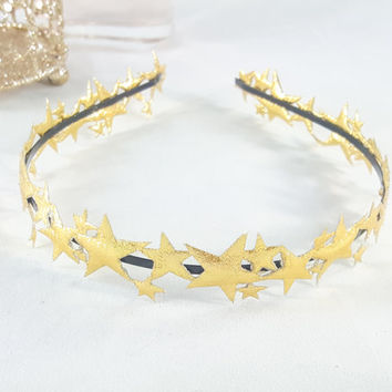 Gold Stars Headband - Silver Stars Headband - Womens Headband - Girls Headband - Adult Headband - Hair Accessory - Star Halo