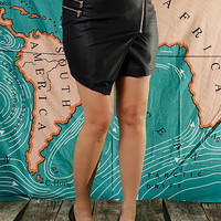 Black Zip Faux Leather Mini Skirt