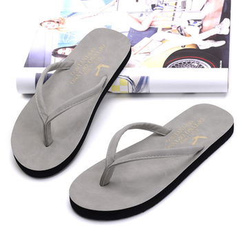New fashion summer men sandals soft unisex casual slippers women's beach flip flops rubber sole flat shoes