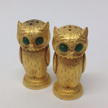 Vintage Gold Owl Salt and Pepper Shakers