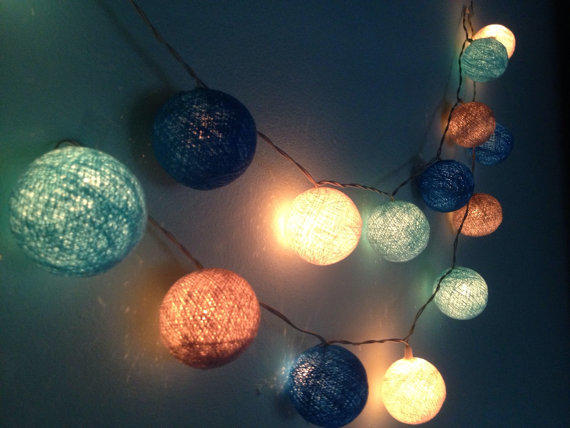 String Lights Indoor Bedroom : Cotton ball string lights for home from Icandylighting on Etsy