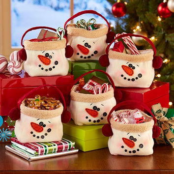 Christmas Gift Treat Bag Snowman Set 6 Bags Handled Reusable Polyester Holiday