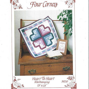 Heart to Heart Wall Hanging or Quilt Pattern, UNCUT, From 1990, Four Corners, Home Decor Quilt, Vintage Pattern, Home Quilting Pattern