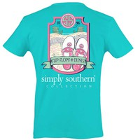 Simply Southern Preppy Collection Flip Flops and Dunes T-shirt for Women in Pool PRPDUNE-POOL
