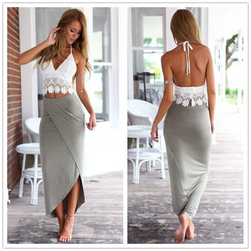 Crop top pencil skirt set summer grey boho maxi long skirt ladies high waisted slit bohemian skirt