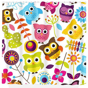 Owl SHOWER CURTAIN Custom MONOGRAM Cute Owls Child Kid Personalized Bathroom Decor Bath Beach Towel Plush Bath Mat Made in Usa
