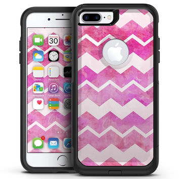 Pink Water Color with White Chevron - iPhone 7 or 7 Plus Commuter Case Skin Kit