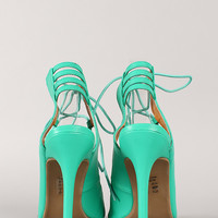 Shoe Republic Helice Lace Up Peep Toe Heel
